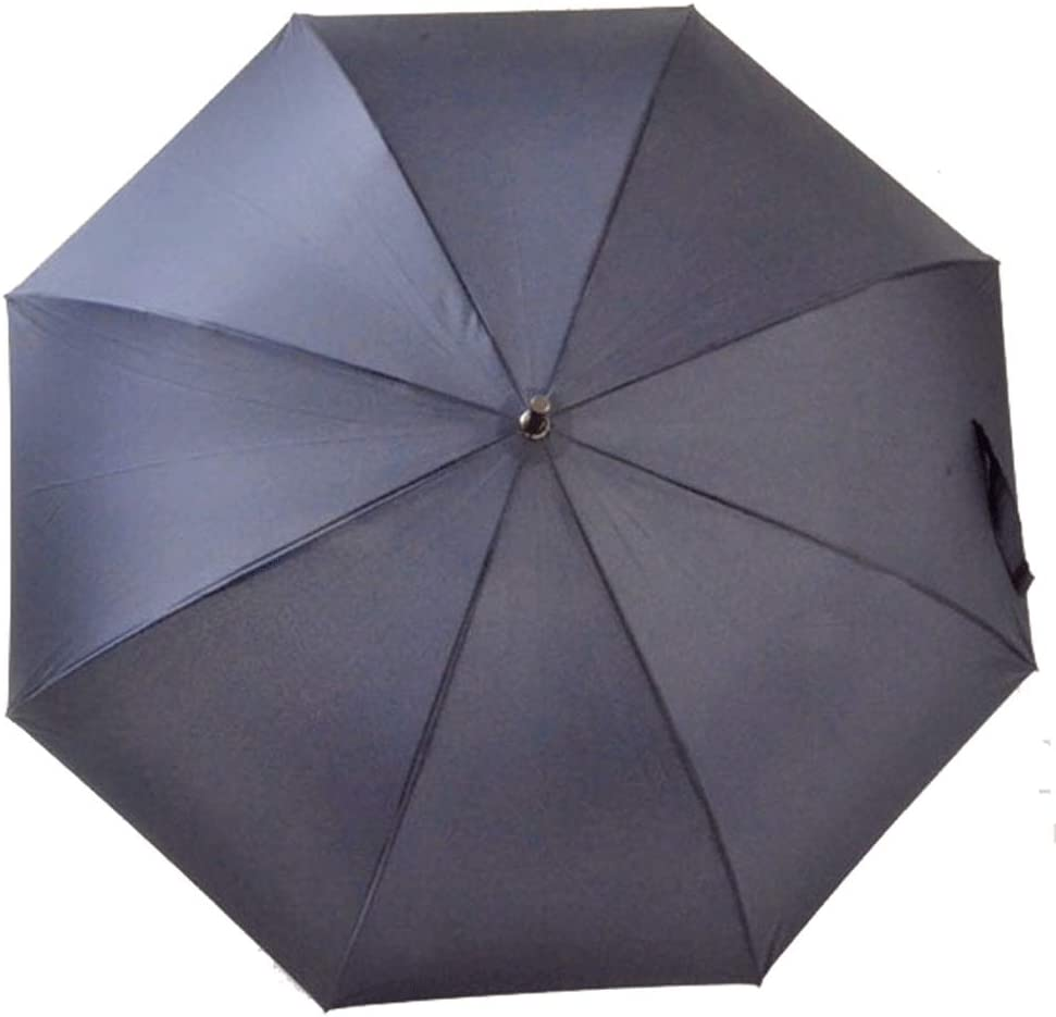 Color : Dark Blue, Size : Free Size Liweibao Impact Fabric Long Handle Straight Rain/&UV Protection Wooden Handle Umbrella for Men Women Black//Dark Blue//Gray//Coffee