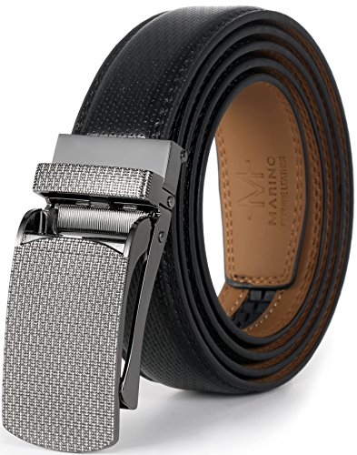 Genuine Belt Buckle Black (Marino Avenue Men's Genuine Leather Ratchet Dress Belt with Linxx Buckle, Enclosed in an Elegant Gift Box - Black - Style 137 - Adjustable from 28