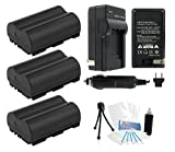 3-Pack BP-511 / BP-511A High-Capacity Replacement Batteries w/ Rapid Travel Charger for Select Canon Digital Cameras. UltraPro Bundle Includes: Camera Cleaning Kit, Screen Protector, Mini Travel Tripod