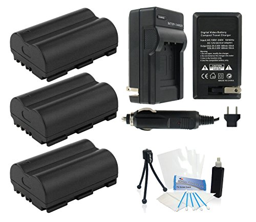 3-Pack BP-511 / BP-511A High-Capacity Replacement Batteries w/ Rapid Travel Charger for Select Canon Digital Cameras. UltraPro Bundle Includes: Camera Cleaning Kit, Screen Protector, Mini Travel Tripod by UltraPro