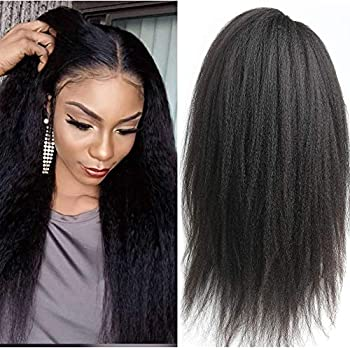Image of Kinky Straight Lace Front Wig Human Hair with Baby Hair Pre Plucked Yaki Straight Lace Frontal Wigs Natural Hair Line 150 Density Full Glueless Peruvian Remy Lace Wig For Women (18', kinky straight)