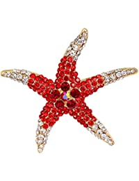 Fashion Color Starfish Inlaid Rhinestones Alloy Brooch Pins Women Girls Accessories