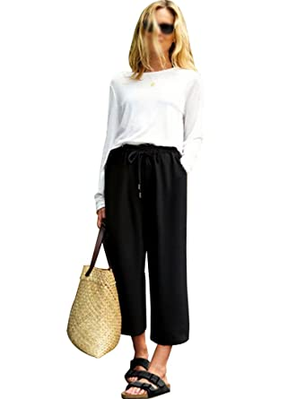 f4fd6ee602b Monique Women Oversize Elastic Waist Wide Leg Pants Casual Loose Haren Pants  Ninth Pants Culottes Black
