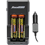 Power2000 XP 18650 (2) Rechargeable Li-ion Batteries & AC/DC Charger Set with Home Plug & Car Cord