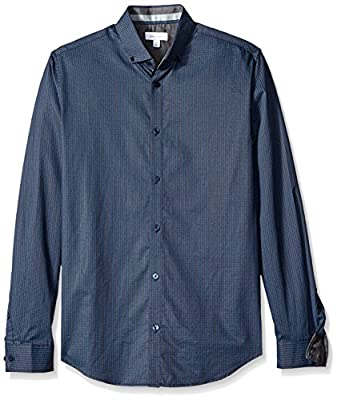 Calvin Klein Men's Herringbone Print Long Sleeve Button Down Shirt