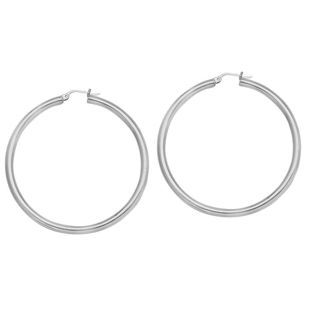 3 X 45 Plain Round Hoop Ear//Rhodium Hoop Earrings