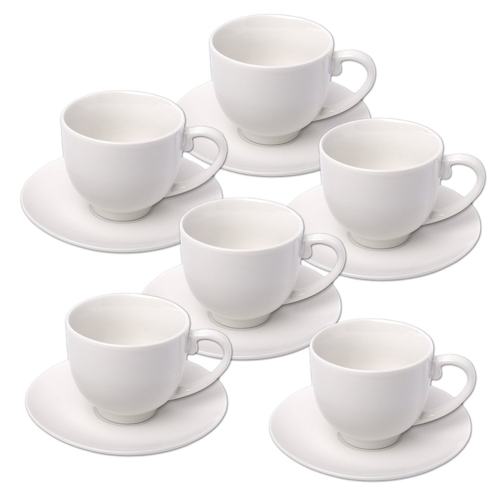 Alpina 871125285358Set of Espresso Cups with Saucers, Ceramic, White, 31x 17.5x 7cm, 12Units