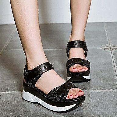 RUGAI-UE Las mujeres de verano sandalias casuales zapatos de tacones de cuña de PU Confort,Blanca,US9 / UE40 / UK7 / CN41 Black