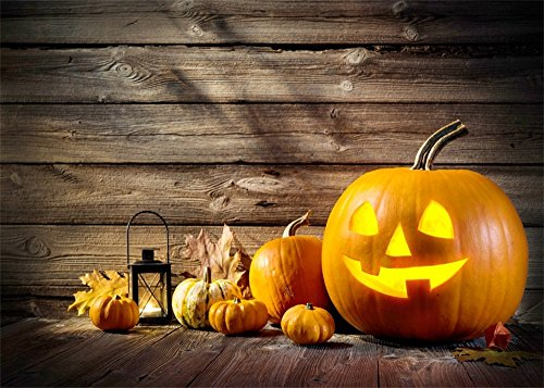 Leowefowa 7X5FT Vinyl Photography Backdrop Halloween Pumpkin Lamps Lantern Sunshine Vintage Rustic Stripes Wood Floor Autumn Harvest Background Kids Adults Photo Studio -