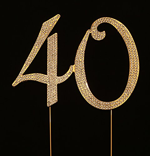 Numbrer 40 for 40th Birthday or Anniversary Cake Topper Party Decoration Supplies, Gold, 4.5 Inches Tall (Cake Keepsake Top Collection)
