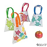 Set of 12 SMALL 8'' x 8'' Luau Turtle Tote Bags Assorted Styles and Colors ~ Cotton