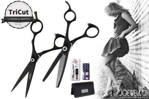 Joewell Envy Black 5.5'' Shear & Thinner Combo - Free Case, Razor Pack & Sidekick by Joewell (Image #3)