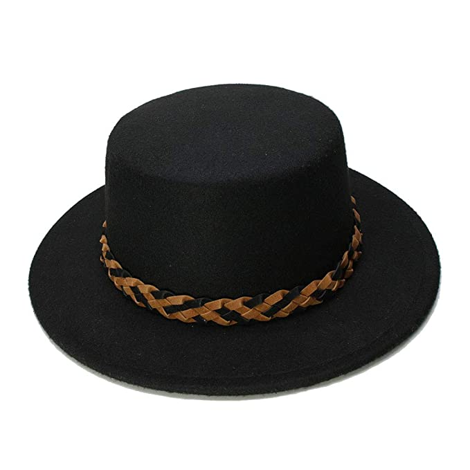 5c8fdabfae4 YWHY Casual Wool Wide Brim Bowler Trilby Fedora Hat Men Women Vintage Plain  Flat Lady Felt