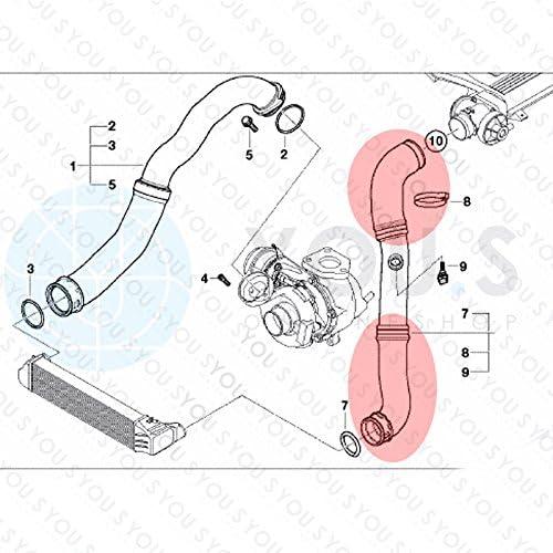 You S Original 11617791393 11617799397 Ladeluftschlauch Innendurchmesser Ca 54 56 Mm 45 55 Mm Auto