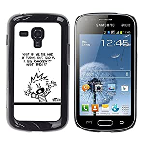 // PHONE CASE GIFT // Duro Estuche protector PC Cáscara Plástico Carcasa Funda Hard Protective Case for Samsung Galaxy S Duos S7562 / Calvin Hobbs /