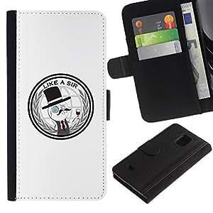 KLONGSHOP // Tirón de la caja Cartera de cuero con ranuras para tarjetas - Like A Sir divertido - Samsung Galaxy S5 Mini, SM-G800 //