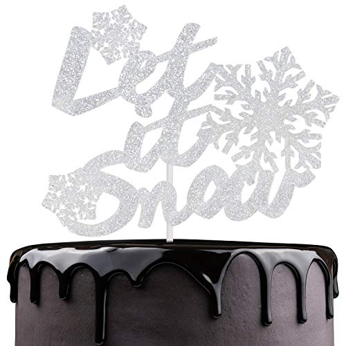 Let It Snow Christmas Cake Topper - Silver Glitter Snowflakes Winter Festival Cake Décor - Joyeux Noel - Baby Shower Kids 1st Birthday - Christmas Holidays Party Decoration]()