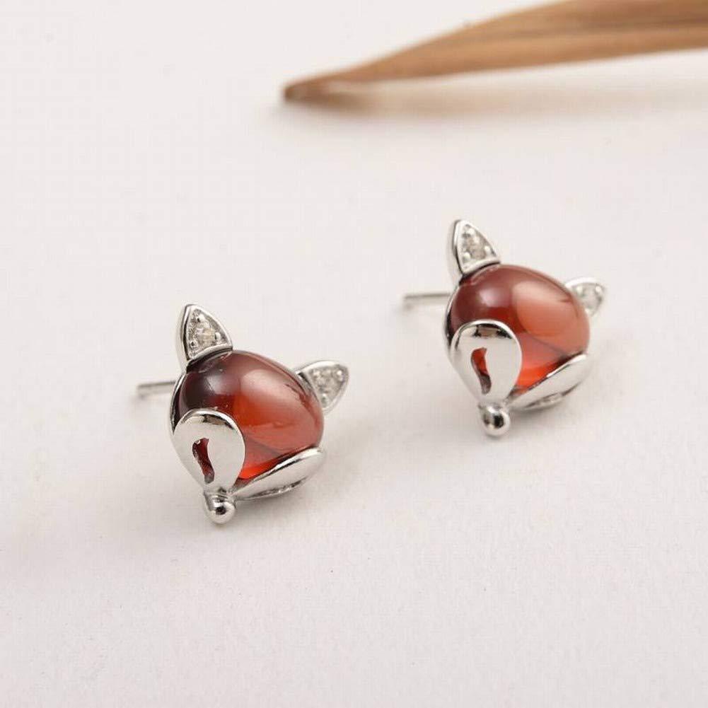 Lvdijidian Womens Western Fashion 925 Silver Animal//Zodiac Gemstone Stud Earrings S925 Sterling Silver Stud Earrings Garnet Fox Earrings Exquisite High-End Red Earrings Silver Jewelry Batch
