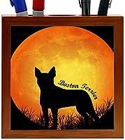Rikki Knight Boston Terrier2 Dog Silhouette by Moon Design 5-Inch Wooden Tile Pen Holder (RK-PH8462)