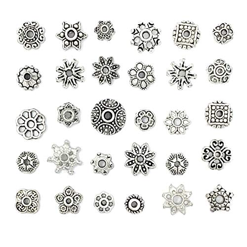 JIALEEY Wholesale Bulk Lots 150Pcs 30 Style Tibetan Silver Bead Caps Mixed for DIY Jewelry Making, Bali Style 5-10mm ()