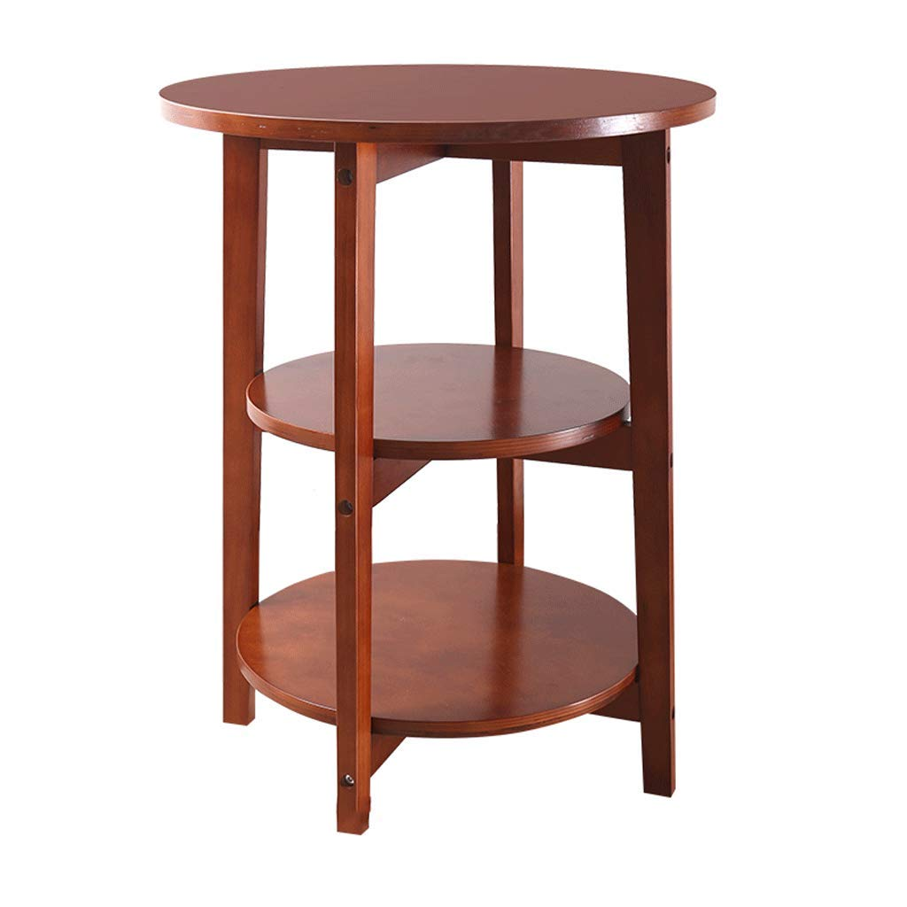 Three-Tiered Round Table, Multi-Function Coffee Table Side Table Work Table Shelf Bedroom Bedside Living Room Sofa Solid Wood by Small table