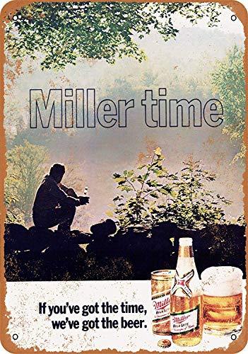 Fersha 8 x 12 Metal Sign - 1972 Miller Beer - Vintage Look Art Poster Plaque Bar Kitchen Home Indoor Or Outdoor Wall Decor