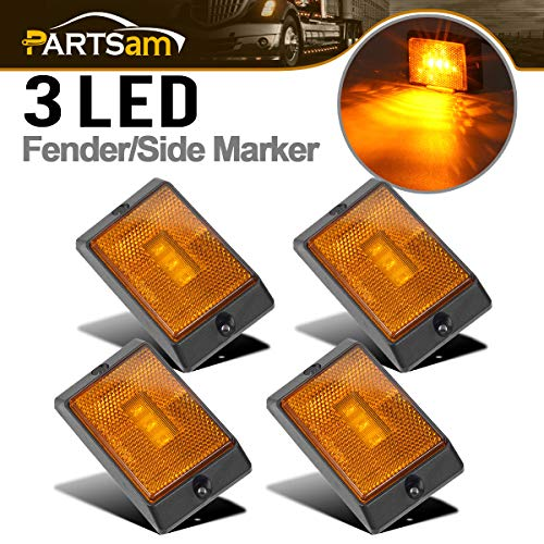 Partsam 4 Pcs Square Amber LED Marker Light Reflectorized Lens Surface Mount, 2-4/5
