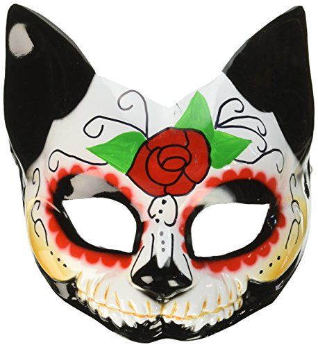 Forum Novelties Day of the Dead Cat Half Mask (Day Of The Dead Mask For Sale)