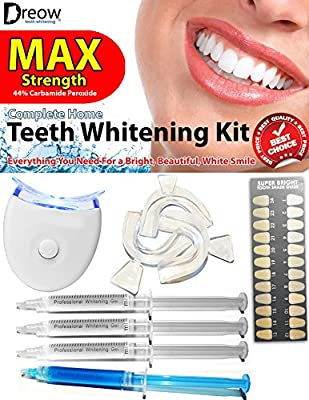 ? Teeth Whitening Kit Max Strength 44% ? J00442 by DREOW with FREE Remineralizing Gel Syringe, 3 x Powerful Dental Grade Carbamide Peroxide Syringes, 3 x Thermoform Mouth Trays