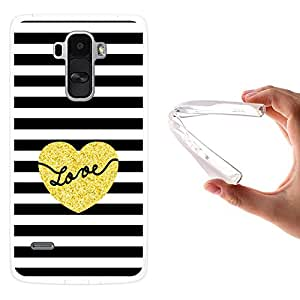 WoowCase - Funda Gel Flexible { LG G4 Stylus } Chic Style Corazón con Rayas Carcasa Case Silicona TPU Suave