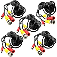 5-Pack 16Ft. Black, Pre-made All-in-one BNC Video and Power Cable Wire with Connector DC 2.1mm for CCTV Surveillance Security Camera