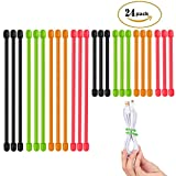 AusKit Twist Ties, Rubber Gear Ties 24 Pcs (Diameter-4mm , 3 Inch and 6 Inch) Assorted Colors Black,Green,Orange,Red
