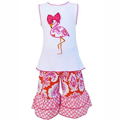 AnnLoren Big Girls 9-10 Boutique Hot Pink Flamingo Tunic and Capri Outift