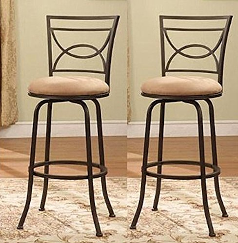 Legacy Decor Bronze Adjustable Swivel Counter Height Bar Stools 24