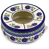 Polish Pottery Heater with Candle Holder 8-inch Water Daisies