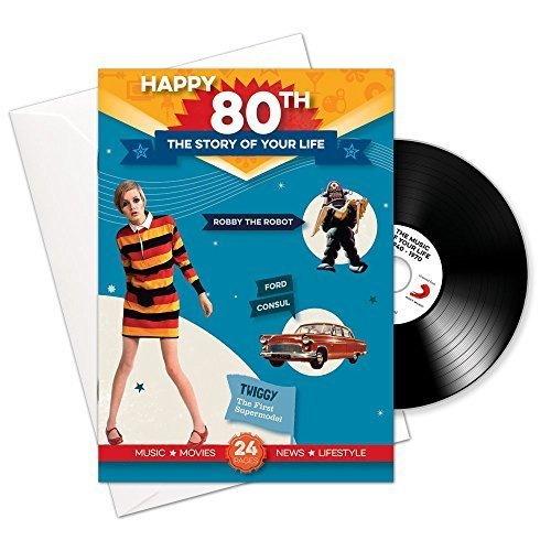 Happy 80th Story of Your Life 24 Page Booklet Greeting Card and Music Download Featuring 15 Hit Songs of Your Life -