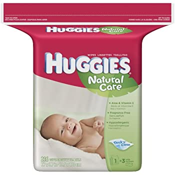 Huggies Natural Care Baby Wipes, Fragrance-Free, Refill, 216-Count Pack (Pack of 3). 648 total wipes