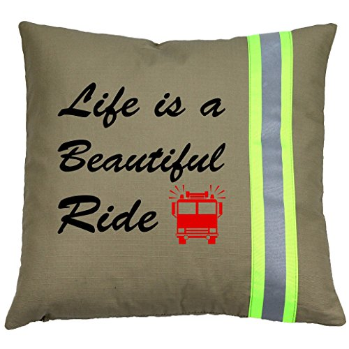Fully Involved Stitching Firefighter Tan Life is a Beautiful Ride Pillow