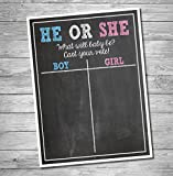 Katie Doodle GR002 Premium Baby, Cast Your Vote Poster, Pregnancy Gender Reveal Party Decoration & Accessories for Boys & Girls, 12x18 inches, Black (Chalkboard Style)