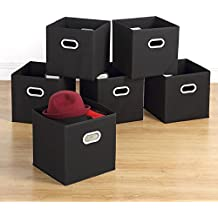 """Storage Bins - Housen Solutions 6 Pack Collapsible Cloth Storage Baskets Durable Nonwoven Cube Basket Organizer Foldable Fabric Drawers, Dual Plastic Handles, Black 12"""""""