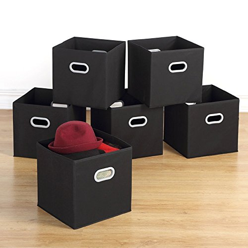 Storage Bins - Housen Solutions 6 Pack Collapsible Cloth Storage Baskets Durable Nonwoven Cube Basket Organizer Foldable Fabric Drawers, Dual Plastic Handles, Black 12