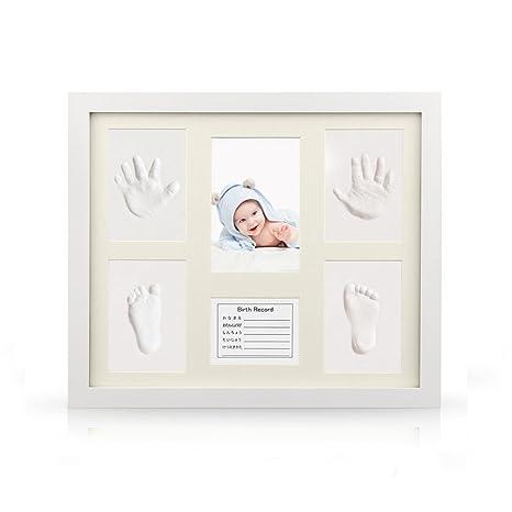 Joyeee Marco de Fotos para Bebé, Kit de Marco de Huellas de Mano y pie de ...