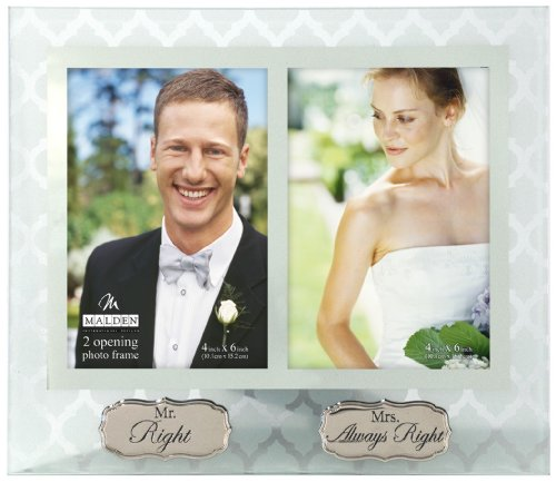 Malden International Designs Wedding Memories Mr. Right, Mrs. Always Right Frosted Glass With Mirrored Inner Border Picture Frame, 2 Option, 2-4x6, Clear