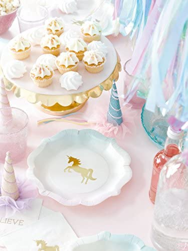 Talking Tables ユニコーンテーマパーティーのために私たちの心ユニコーンパーティーバンドルデザイナープレート&ナプキン
