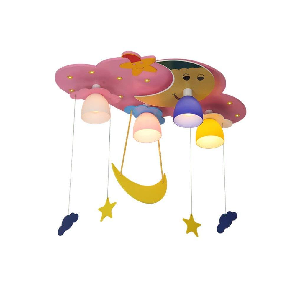 Haiyao Led子供シーリングライトスタームーンクラウド4ライト木製保護目男の子女の子ルーム現代漫画E14照明220ボルト (Color : ピンク)  ピンク B07SCWK5ZB