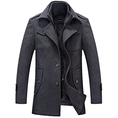 Yougao Men's Winter Thicken warm Stand Collar Wool Coat XL Grey