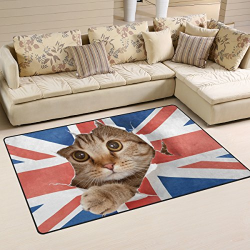 Naanle Funny Animal Cat Non Slip Area Rug for Living Dinning