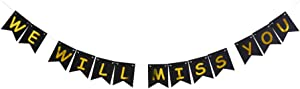 We Will Miss You Banner, Elegant Paper Sign Decors for Farewell/Goodbye/Going Away/Retirement Party, Gold Folied Photo Backdrops (Balck)