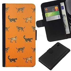 Stuss Case / Funda Carcasa PU de Cuero - Gatito anaranjado lindo patrón - Sony Xperia Z1 L39