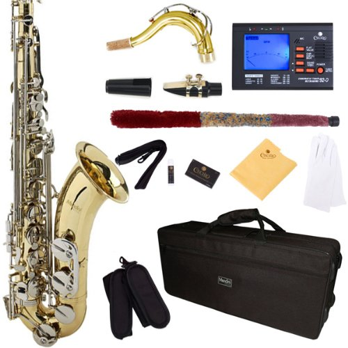 mendini-by-cecilio-mts-ln-92d-gold-lacquer-with-nickel-plated-keys-b-flat-tenor-saxophone-with-tuner